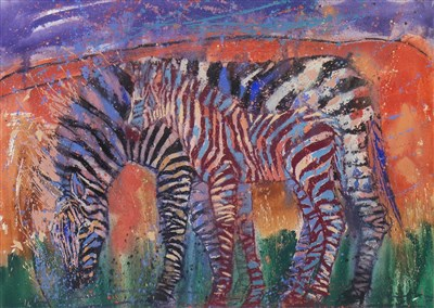 Lot 506-ZEBRA MOTHER AND DAUGHTER, A MIXED MEDIA BY SALLY CARLAW