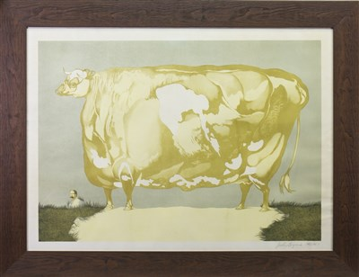 Lot 507-PRIZE COW, A LITHOGRAPH BY JOHN BYRNE