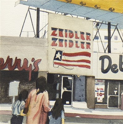 Lot 509-AMERICAN SHOP FRONTS, A WATERCOLOUR BY JOHN BYRNE