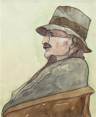 Lot 512-STUDY OF A GENTLEMAN,  A WATERCOLOUR