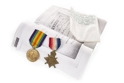 Lot 1623-A LOT OF TWO WWI SERVICE MEDALS AWARDED TO J.F. SWANEPOEL