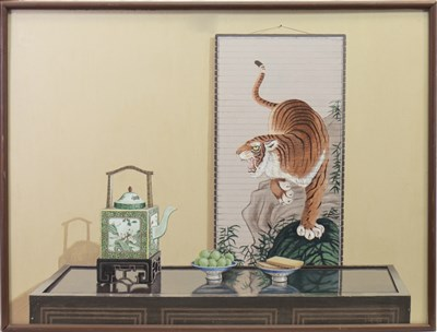 Lot 533-STILL LIFE WITH CHINESE SCROLL AND CHINESE CERAMICS, AN OIL BY DAVID COSTER