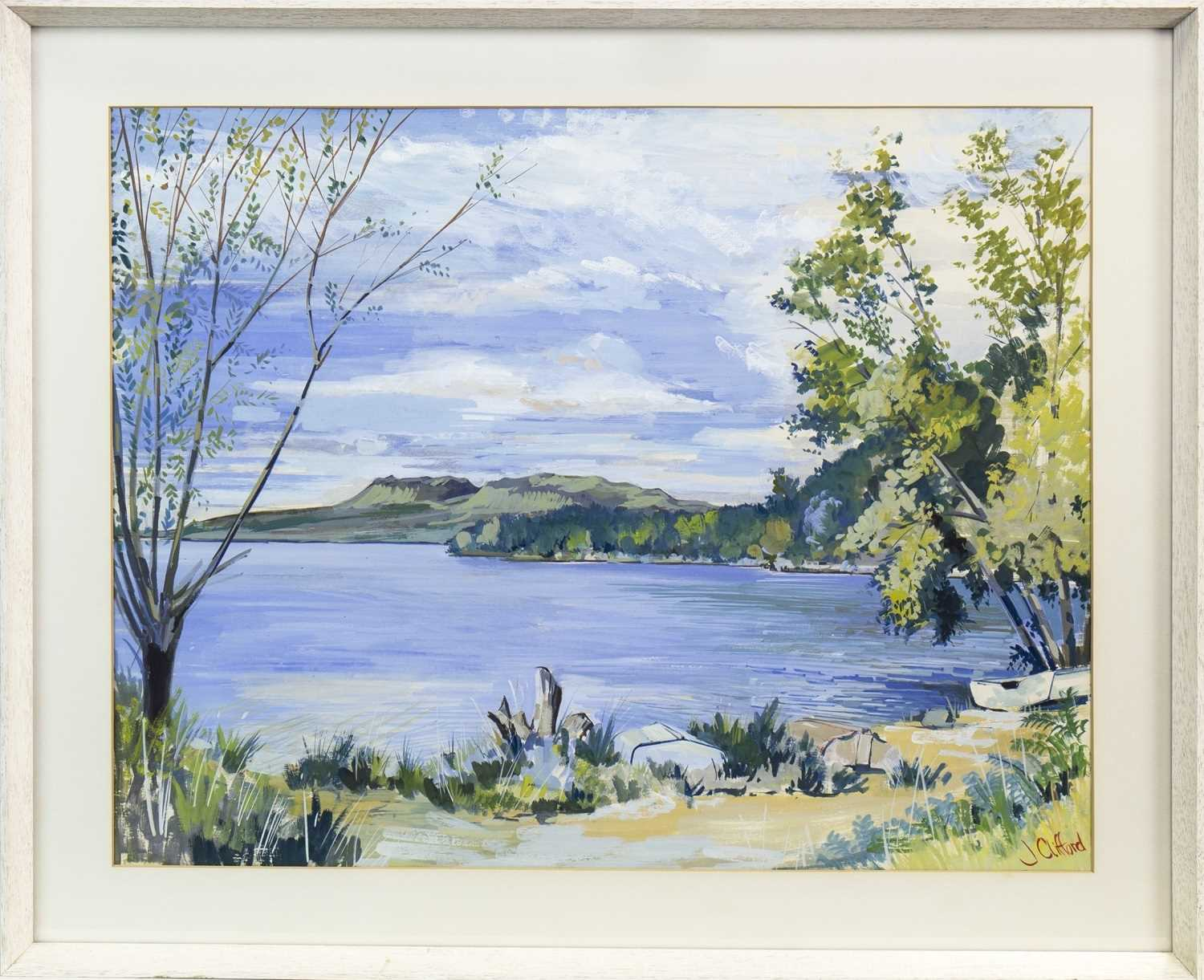 Lot 425-A QUIET LAKE SCENE, AN OIL BY JOHN CLIFFORD