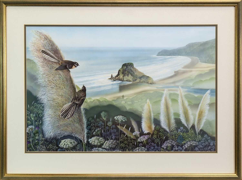 Lot 426-COASTAL SCENE WITH BIRDS, AN OIL BY JOHN CLIFFORD