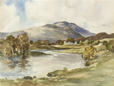 Lot 411-FROM THE RIVER TEITH, CALLANDER, A WATERCOLOUR BY JOHN COCHRANE
