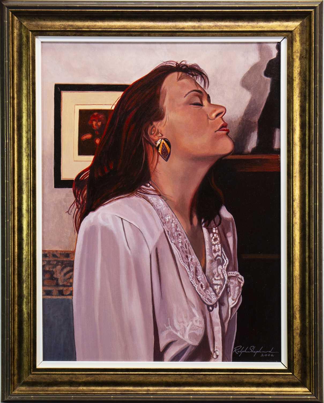 Lot 415-PORTRAIT OF A LADY, AN OIL BY RALPH SHEPHARD