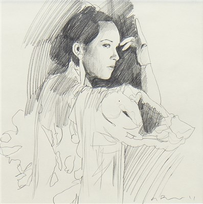 Lot 514-FLAMENCA, A PENCIL SKETCH BY GERARD BURNS