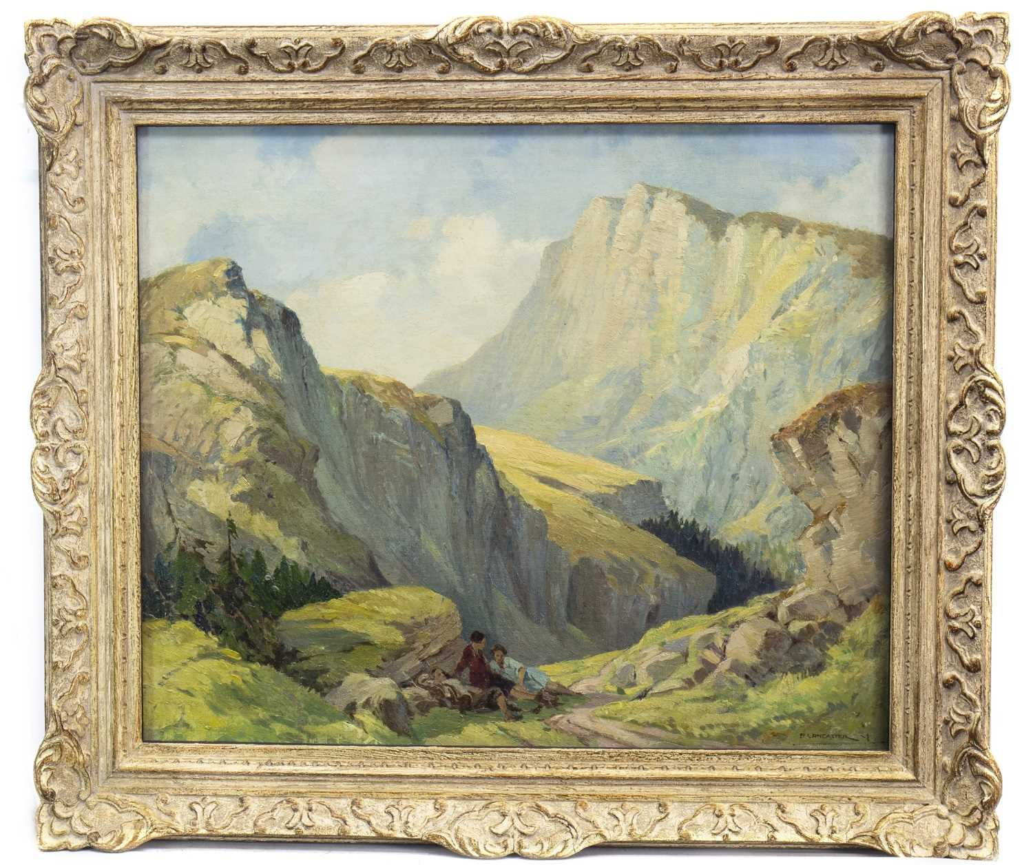 Lot 475-SWISS MOUNTAIN PASS WITH FIGURES RESTING, AN OIL BY PERCY LANCASTER