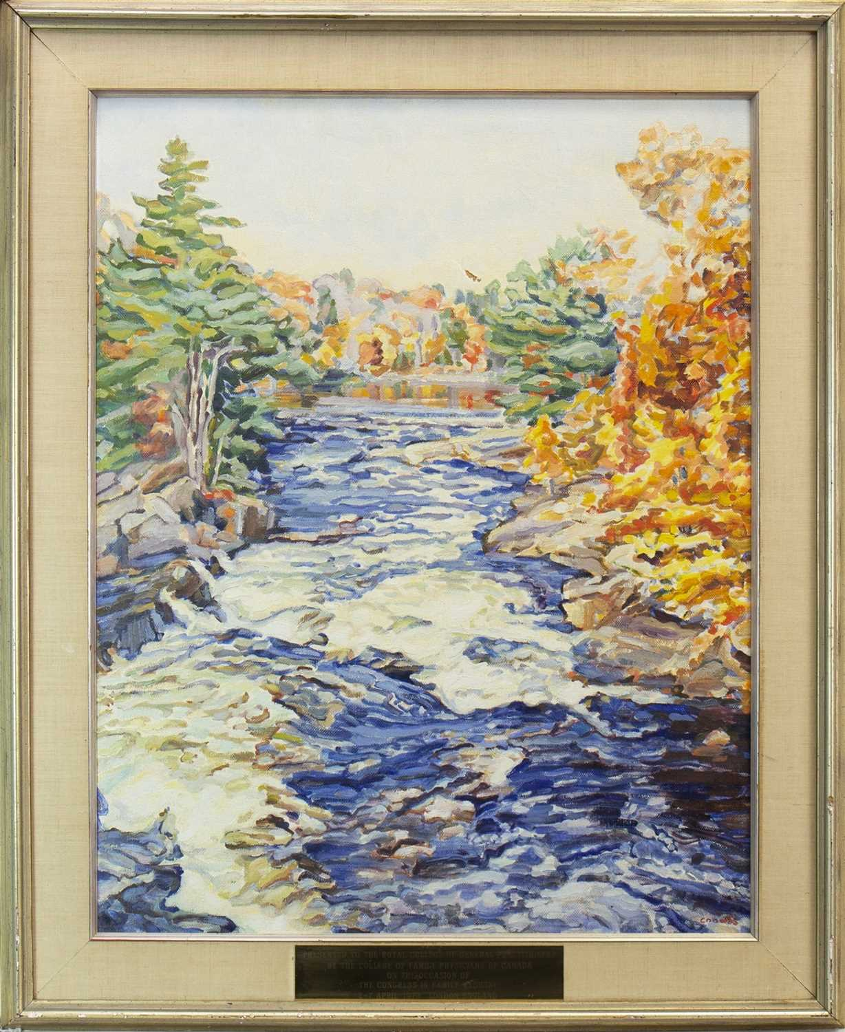 Lot 422-DOWN THE RAPIDS, AN OIL BY EDITH GRACE COOMBS