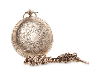 Lot 814 - A NINE CARAT GOLD FULL HUNTER WATCH AND CHAIN