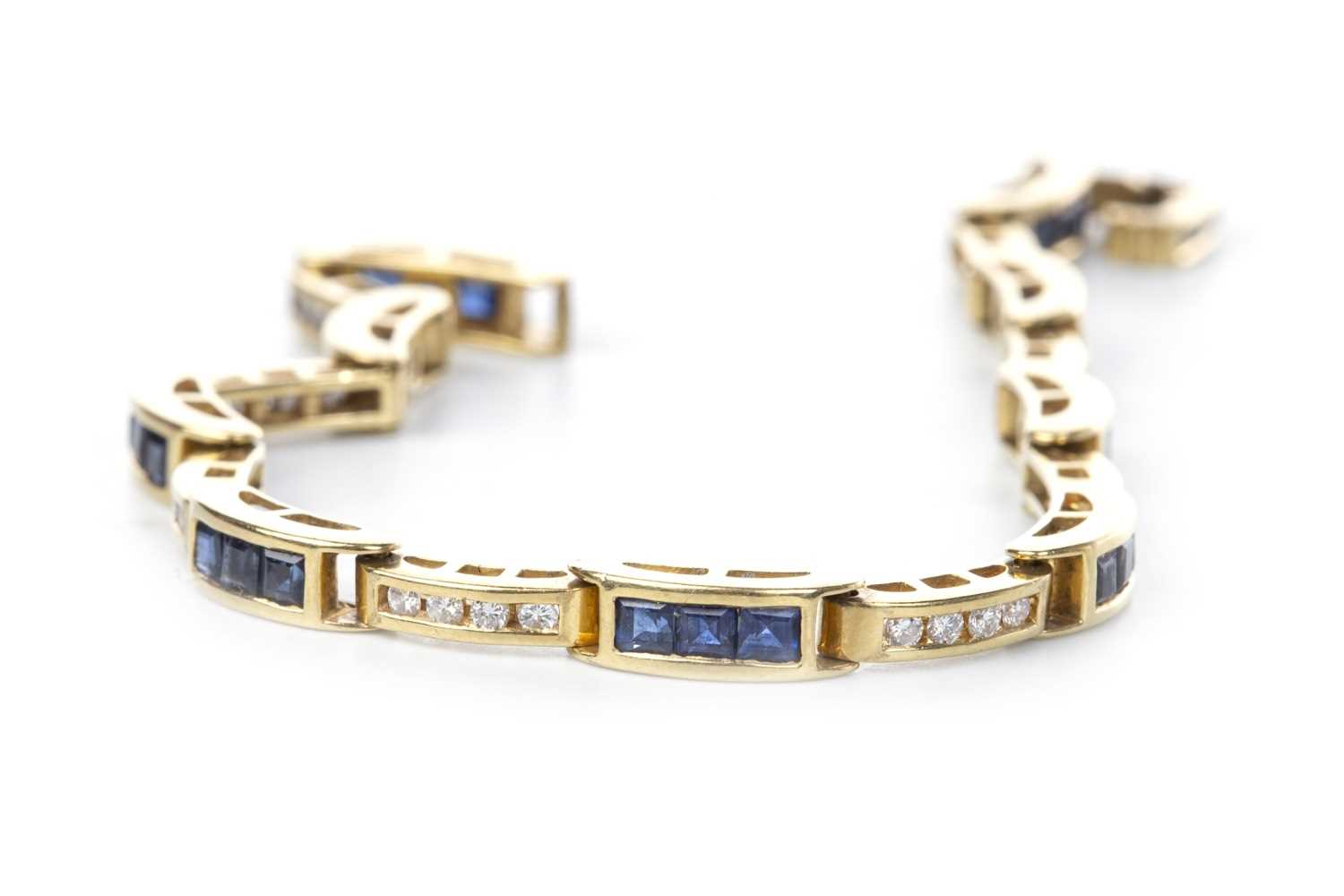 Lot 11-A BLUE GEM AND DIAMOND BRACELET