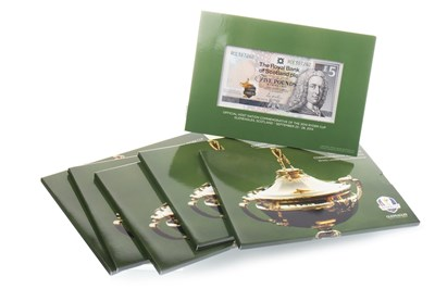 Lot 558-SIX THE 2014 RYDER CUP £5 COMMEMORATIVE BANKNOTES