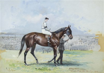 Lot 404-STUDY OF ABOYEUR, WINNER OF THE DERBY, 1913, A WATERCOLOUR BY JOHN BEER