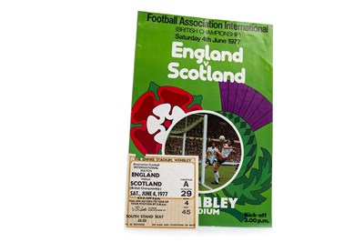Lot 1911-AN ENGLAND V SCOTLAND 4TH JULY 1977 PROGRAMME AND TICKET STUB