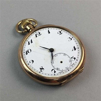 Lot 6-A NINE CARAT GOLD POCKET WATCH, A WHITE METAL CARD HOLDER, WATCH AND NECKLACE