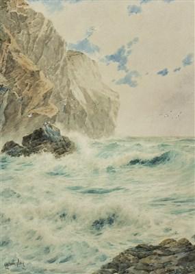 Lot 417-ROCKY COASTAL SCENE, A WATERCOLOUR BY H H BINGLEY