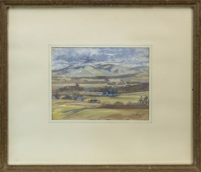 Lot 418-FIRST SNOW ON CHEVIOT FROM GIRRICK HIGHTS, A MIXED MEDIA BY JOHN SHIACH