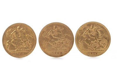 Lot 593-THREE GOLD HALF SOVEREIGNS
