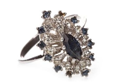 Lot 7-A BLUE GEM SET CLUSTER RING