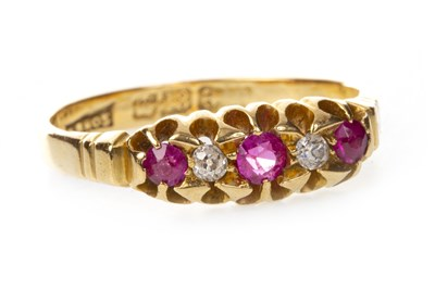 Lot 9-A VICTORIAN PINK GEM AND DIAMOND RING
