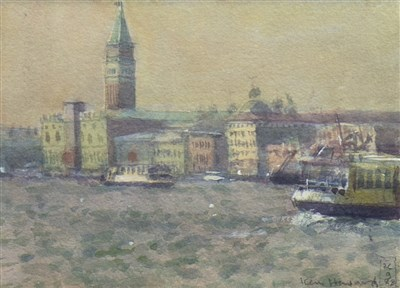Lot 519-RIVA DEGLI SCHAVONI, A WATERCOLOUR BY KEN HOWARD