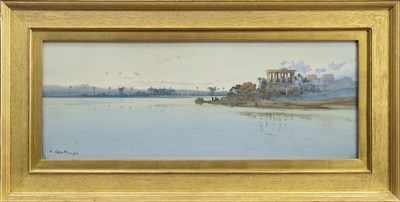 Lot 413 - TEMPLE OF PHILAE ON THE NILE, A WATERCOLOUR BY AUGUSTUS OSBORNE