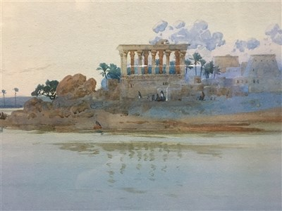 Lot 413-TEMPLE OF PHILAE ON THE NILE, A WATERCOLOUR BY AUGUSTUS OSBORNE