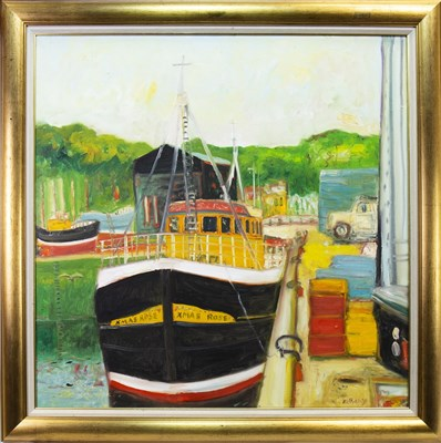 Lot 520-XMAS ROSE IN THE HARBOUR, AN OIL BY JOHN BELLANY
