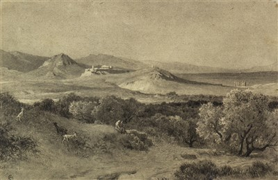 Lot 433-VIEW OF ATHENS, A WATERCOLOUR BY ALFRED DE CURZON