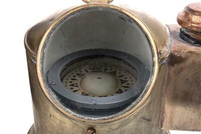 Lot 1430-AN EARLY 20TH CENTURY SHIP'S BRASS BINNACLE COMPASS