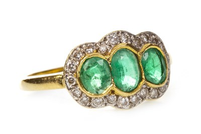 Lot 1-A GREEN GEM AND DIAMOND RING