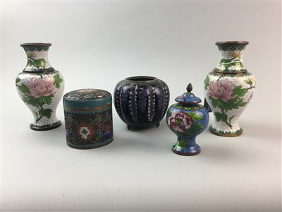 Lot 22-A CHINESE CLOISONNE LIDDED BOX, CLOISONNE JAR, PAIR OF VASES AND CHINESE WOOD STANDS