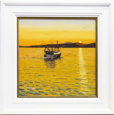 Lot 590-SUNRISE OVER MULL, AN OIL BY FRANK COLCLOUGH