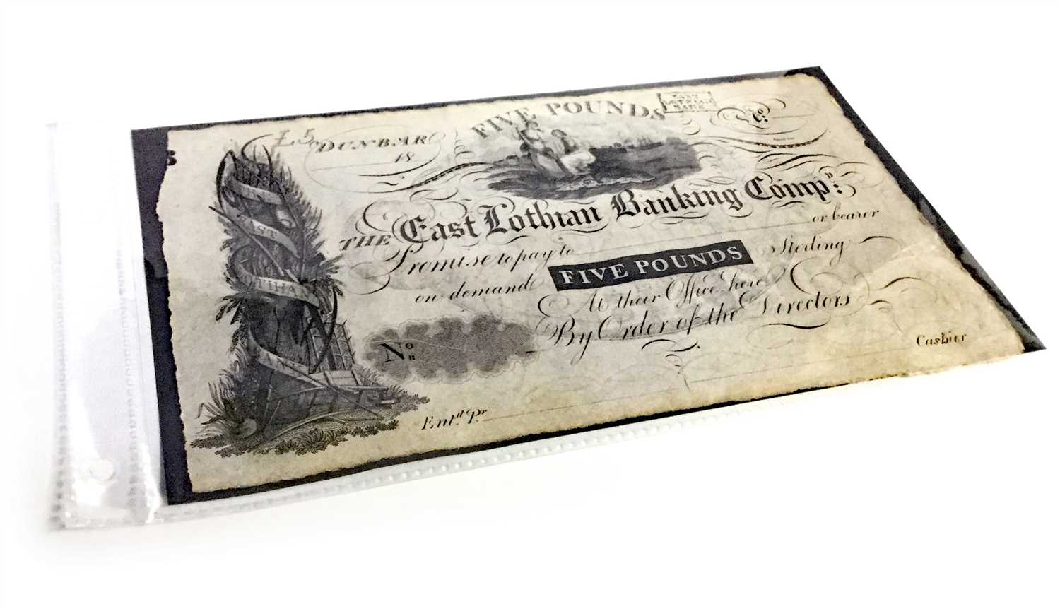 Lot 564-AN EAST LOTHIAN BANKING COMPANY £5 NOTE, UNDATED