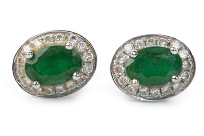 Lot 5-A PAIR OF GREEN GEM AND DIAMOND SET STUD EARRINGS
