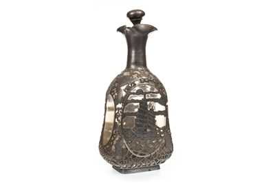 Lot 1108-A 20TH CENTURY PEWTER OVERLAID GLASS DECANTER