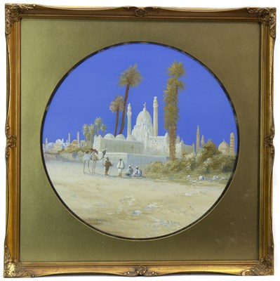 Lot 436-NORTH AFRICAN SCENE, A GOUACHE BY B RAPPINI