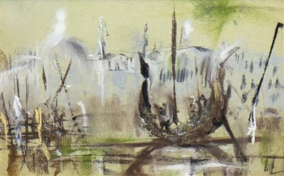 Lot 527-GONDOLA ON THE CANAL, VENICE, A MIXED MEDIA BY SIR NICHOLAS FAIRBAIRN
