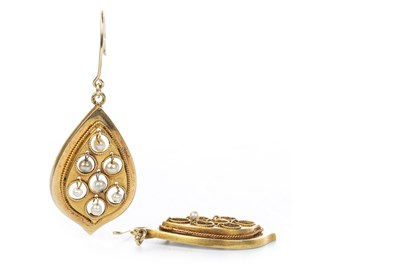 Lot 3-A PAIR OF VICTORIAN DROP EARRINGS