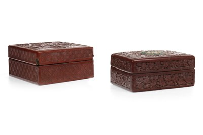 Lot 1111-A LOT OF TWO CHINESE CINNABAR LACQUER BOXES