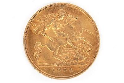 Lot 608 - A GOLD HALF SOVEREIGN, 1904