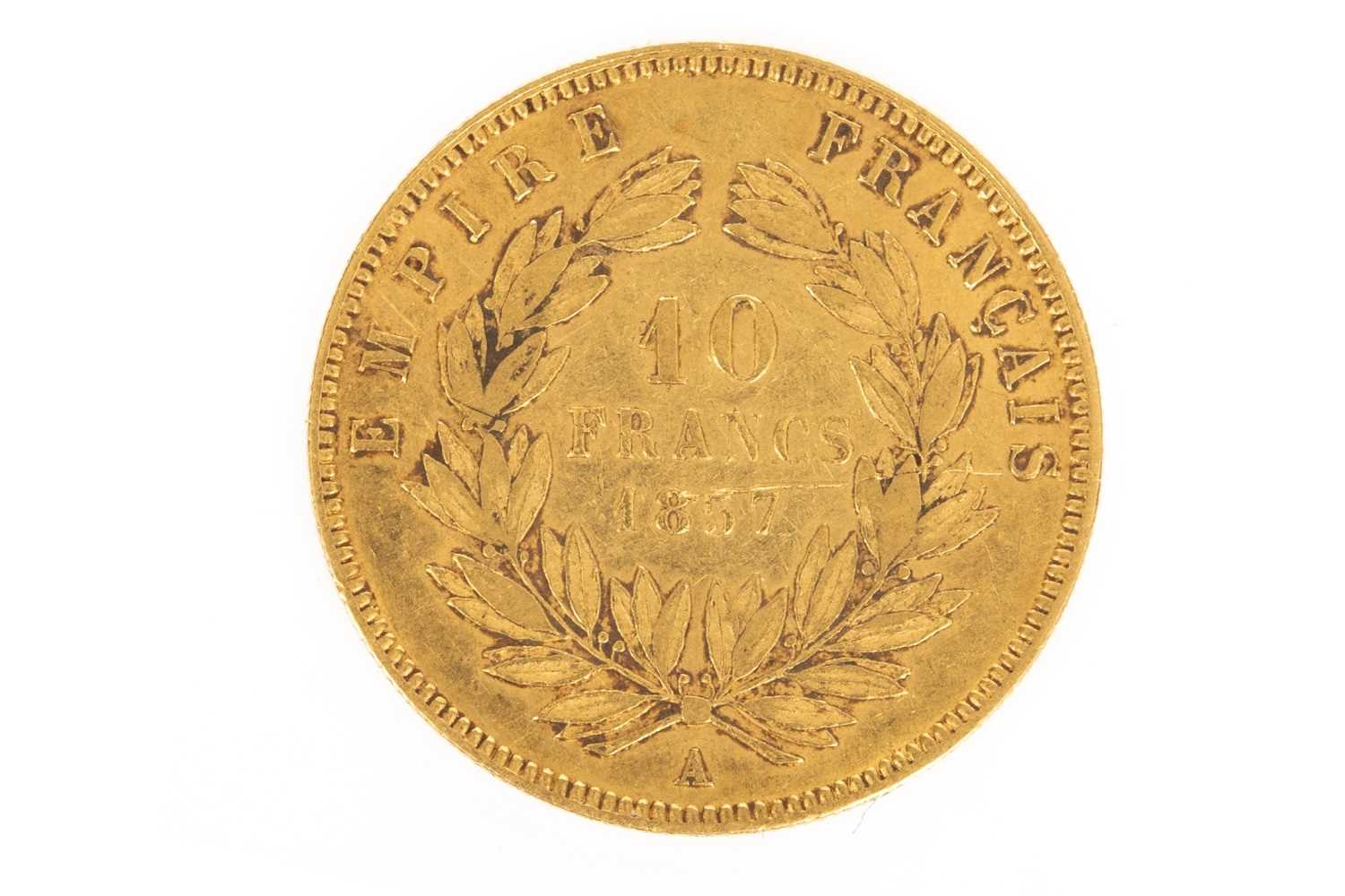 Lot 609-A GOLD FRENCH 10 FRANCS COIN, 1857
