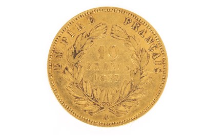 Lot 609 - A GOLD FRENCH 10 FRANCS COIN, 1857