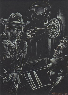 Lot 569-HANK THE YANK AND SH**** BREEKS, A PASTEL BY PETER HOWSON