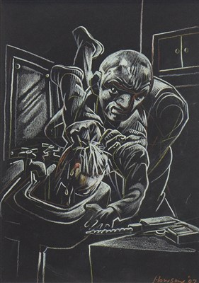 Lot 571-HADGEY'S HAMMER HORROR, A PASTEL BY PETER HOWSON