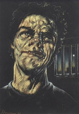 Lot 575-INMATE, A PASTEL BY PETER HOWSON