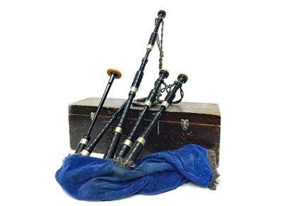 Lot 12-A SET OF HIGHLAND BAGPIPES BY POSSIBLY R.G. LAWRIE OF GLASGOW