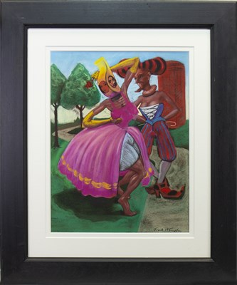Lot 596-THE RED ROSE, A PASTEL BY FRANK MCFADDEN
