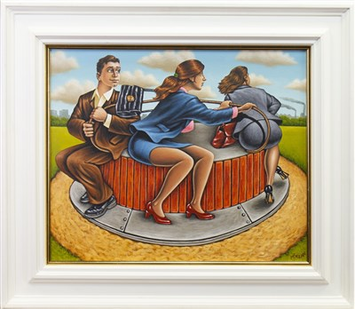 Lot 638-CHASING OUR TALES, AN OIL BY GRAHAM MCKEAN