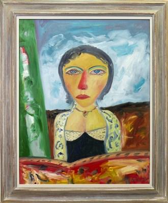 Lot 583-PORTRAIT OF A LADY, AN OIL BY JOHN BELLANY
